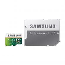 کارت حافظه سامسونگ microSDXC مدل Evo Select کلاس ۱۰ استاندارد UHS-I U3 سرعت ۱۰۰MBps ظرفیت ۱۲۸ گیگابایت به همراه آداپتور SD